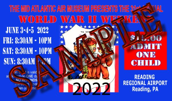SINGLE-DAY CHILD ADMISSION - 2017 WW II WEEKEND