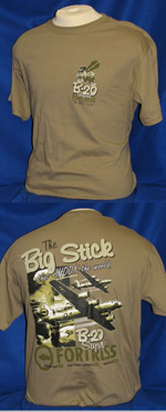 "B-29 Superfortress ""Big Stick"" Front & Back-Print T-Shirt"