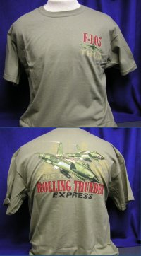 F-105 Thud - Rolling Thunder Express - Front & Back-Print T-Shirt