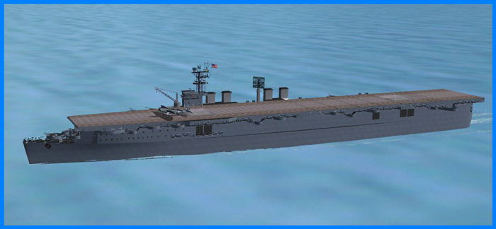 USS Langley (CVL-27) is included with working arresting gear and catapult.