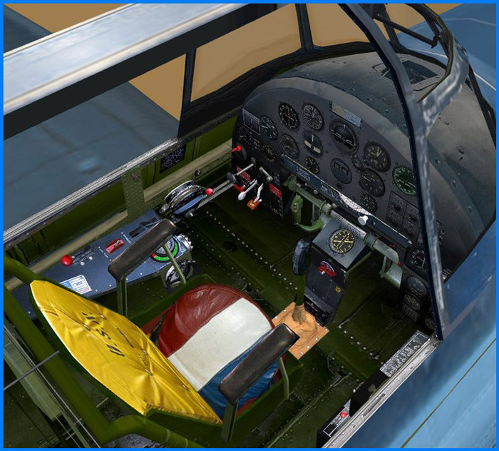 ...view into the TBM\'s 3D cockpit, standing on the wing..
